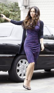 Megan Fox in Purple Dress at Hotel in Santa Monica - 01