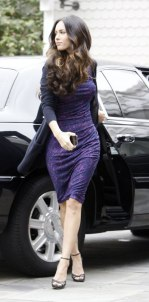 Megan Fox in Purple Dress at Hotel in Santa Monica - 02