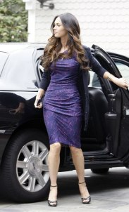 Megan Fox in Purple Dress at Hotel in Santa Monica - 03