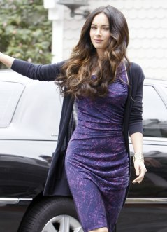 Megan Fox in Purple Dress at Hotel in Santa Monica - 04