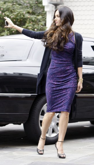 Megan Fox in Purple Dress at Hotel in Santa Monica - 07