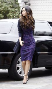 Megan Fox in Purple Dress at Hotel in Santa Monica - 09