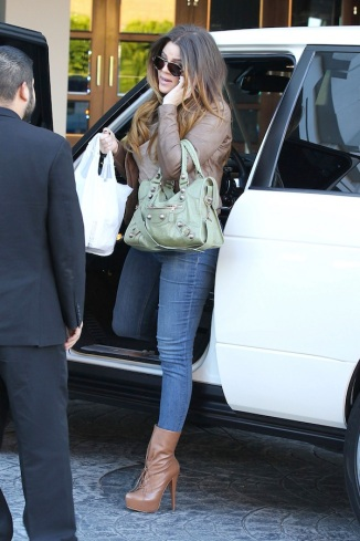 Khloe Kardashian arrives at the SLS Hotel in West Hollywood